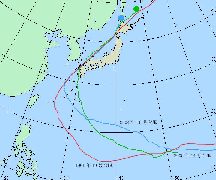 台風のコースを比較する